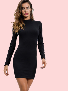 White Tape Contrast Bodycon Mini Dress