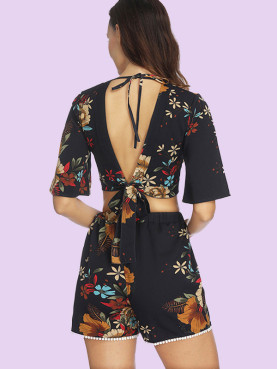 Floral Print Tie Back Deep Plunge Crop Tops and Shorts Sets