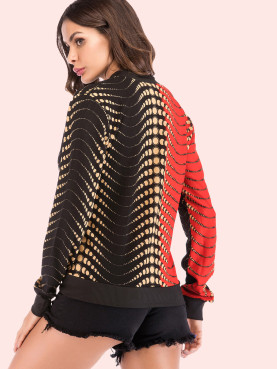 Contrast Trim Zip-Front Printed Jacket