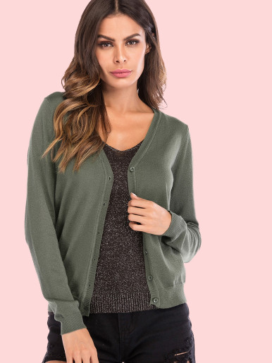 OneBling Button Front V-Neck Knit Cardigan