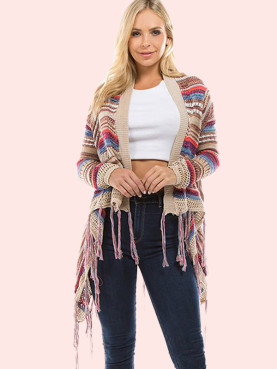 Asymmetric Hem Fringe Hem Open Knit Striped Cardigan