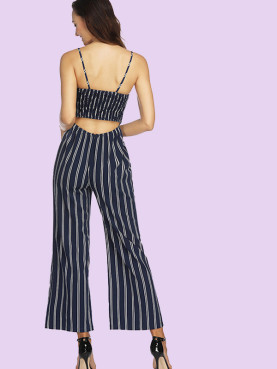 Shirred Back Tie Front Cami Strap Wide Leg Striped Jumpsuit