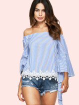 Off Shoulder Lace Hem Striped Blouses with Exaggerated Sleeve
