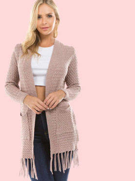 Dual Pockets Fringe Hem Cable Knit Cardigan