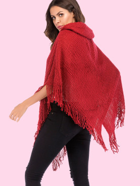 Tassels Trim Chunky Knit Hooded Poncho