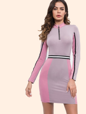 Zip Front Mock Neck Colour Block Bodycon Mini Dress with Striped Tape