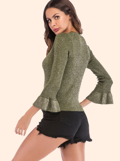 Fluted Sleeve Tie Front Cropped Rib Knit Jumper