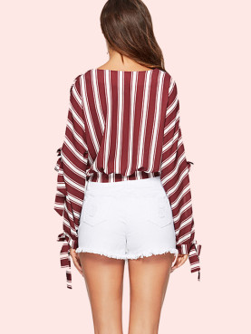 Split Tied Sleeve V-Neck Striped T-Shirt
