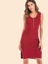 Pearls Embellished Collar Sleeveless Knit Pencil Dress