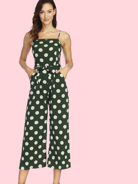 Polka Dot Tie Waist Cropped Jumpsuit with Wide Leg and Pockets