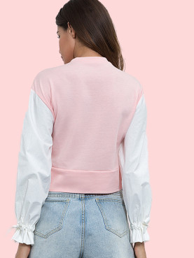 Contrast Sleeve Mock Neck Stepped Hem Cropped Sweatshirt