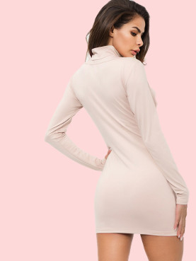 Mock Neck Long Sleeve Cut Out Bodycon Mini Dress