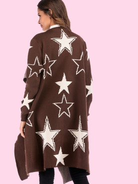 Patch Pockets Open Front Stars Pattern Longline Cardigan