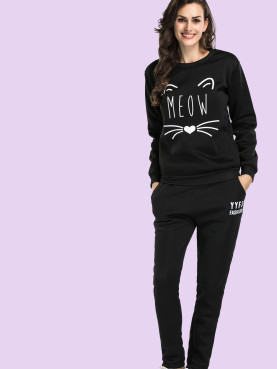 Abstract Cat Print Fleece Tops and Pants Set