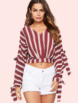 OneBling Split Tied Sleeve V-Neck Striped T-Shirt