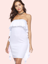 Ruffles Trim Mini Bandeau Dress
