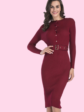 utton Detail Long Sleeve Rib Knit Midi Bodycon Dress with Belt