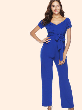 Gathered Sleeve Wrap Front Tie Waist Wide Leg Jumpsuit