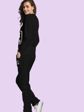 Mickey Mouse Letter Printed Fleece Tops and Pants Set