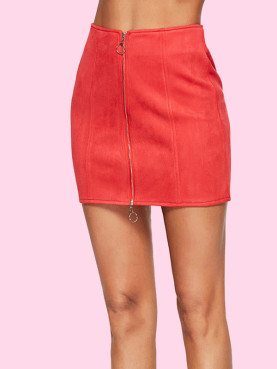 Zip-Front O-Ring Detail Mini Pencil Skirt