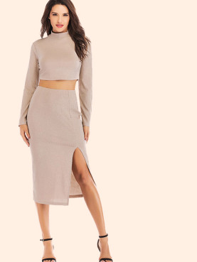 Long Sleeve High Neck Crop Tops and Split Side Midi Skirts Sets