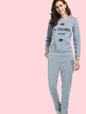 Slogan Print Fleece Sweatshirt Set