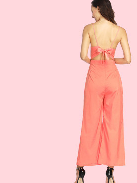Lace-Up Back Deep Plunge Wide Leg Cami Jumpsuit