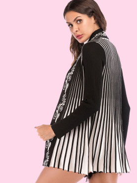 Contrast Sleeve Striped Cardigan