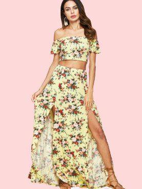 Floral Printed Crop Bardot Tops and Double Splits Skirts Sets