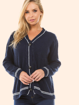 Button Front Cardigan with Tipping Detail