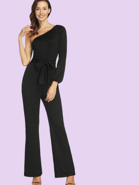 Split Sleeve One Shoulder Jumpsuit with Tie Waist and Flare Leg