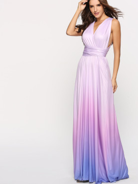 Cross Back Wrap Front Ruched Waist Maxi Dress In Ombre
