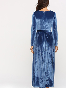 Self Bleted Long Sleeve Velour Maxi Dress