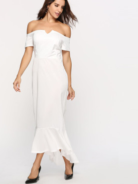 Off Shoulder Maxi Dress with Fishtail Detail