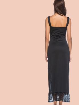 Asymmetric Sequins Frill Deep Plunge Maxi Dress with Split Side