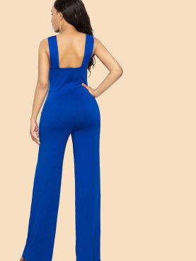 Plus Size Open Back Cross Front Wide Leg Sleeveless Jumpsuits