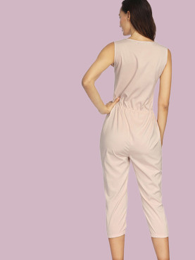 Drawstring Waist Plunge Front Cropped Jumpsuit with Pockets