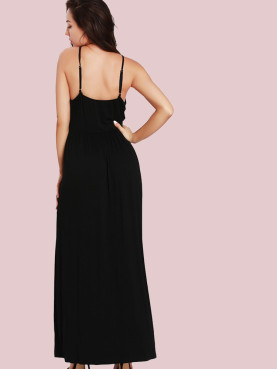 Ruched Waist Wrap Front Adjustable Straps Maxi Dress