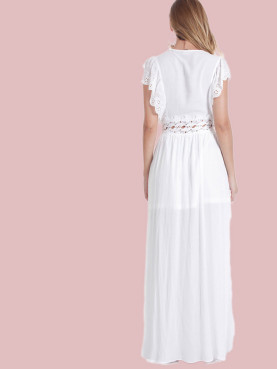Crochet Insert Waist Embroidery Eyelet Ruffles Sleeve Plunge Maxi Dress with Ruched Detail