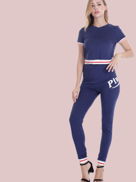 Contrast Tipped Crop Tees and Pink Graphic Pants Sets
