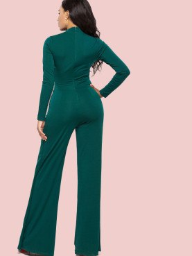 Mock Neck Long Sleeve Jumpsuit with Wide Leg