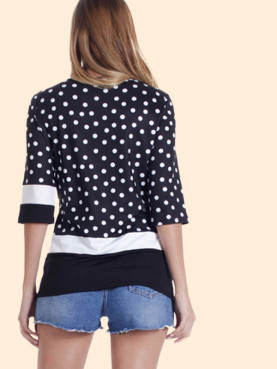 Crew Neck Spot Contrast T-Shirt with 3/4 Sleeves