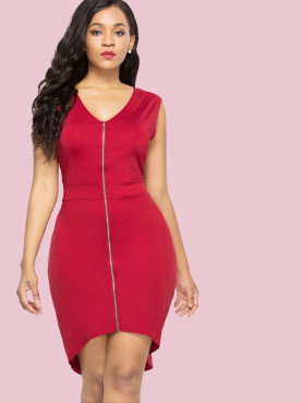 Plus Size Dip Hem Zipper Front Sleeveless Pencil Dress