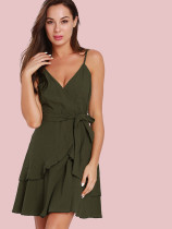 Wrap Front Tiered Mini Dress with Belt