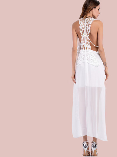 OneBling Crochet Lace Back Slit Side Low CollarSleeveless Maxi Dress