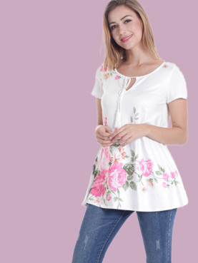 Short Sleeve Tie Neck Floral Print T-Shirt