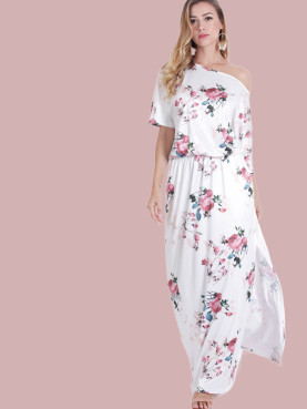 Cold Shoulder Draped Detail Double Pockets Split Side Maxi Dress In Floral Print