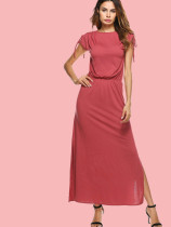 Tie Shoulder Slit Side Slash Neck Elastic Waist Maxi Dress