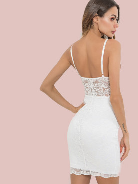 All Over Lace Scallop Hem Bodycon Cami Dress with Sheer Detail