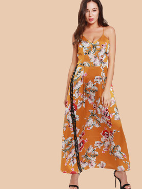 Floral Print Lace Tape Detail Maxi Cmi Dress